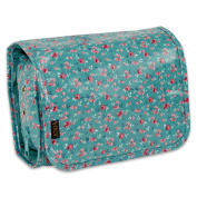 JODA Ladies Womens Pretty Green and Pink Flowers Compact Hanging Travel Toiletry Cosmetic Wash Bag