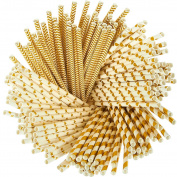 Paper Straws - 160-Pack Gold Coloured Fun Drinking Straws with Coral Stripes, Polka Dot, Chevron, and Star Designs