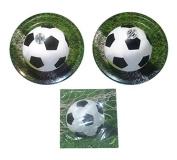 Sports Fanatic Soccer Bundle 23cm Plates (16) Lunch Napkins
