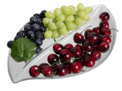 Unbreakable Leaf Serving Tray, Clear Plastic Party Snack Plate with 2 Compartment