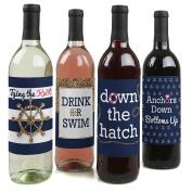 Last Sail Before The Veil - Nautical Bachelorette Party Wine Bottle Labels - Set of 4