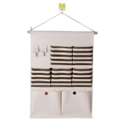 SFGHOUSE Striped Cotton/Linen Fabric 7 Pockets Wall Door Closet Hanging Organiser with Key Hooks Storage Bag