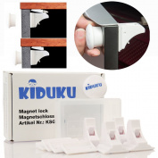 KIDUKU® Set of 4 Magnetic Safety Locks for Cupboard, Drawers and Cabinet, No Drilling, Magnetic Adhesive Lock, Easy Instal