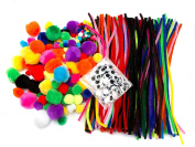 EduKit Jumbo 500 PC Crafting Kit for Kids | Pipe Cleaners, Pompoms & Googly Eyes Large Assortment of Colours & Size | DIY Art Supplies for Children's Craft Projects, Paper Crafts, Holiday Crafts