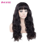 iVogue Hair Best Long Full Lace Human Hair Wigs with Bangs Virgin Brazilian Body Wave Glueless Human Hair Lace Wig with Baby Hair 180% Thick Full Density