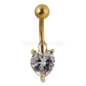 Heart Gem Belly Button Bar Ring Dangle Navel Body Piercing Jewellery Silver