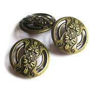 Heather's cf 50 Pieces Brass Tone Hollow Carved Button Beads DIY Charms Pendants17mmX17mm