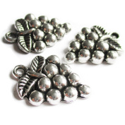 Heather's cf 49 Pieces Silver Tone Grape Beads DIY Charms Pendants 19mmX14mm