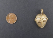 Traditional Mask Brass Pendant from Africa - Authentic Handmade Fair Trade Pendant - The Bead Chest