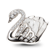 ATHENAIE 925 Sterling Silver Faith Swan Enamel Charms Beads Fit All European Bracelets Necklace