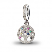 ATHENAIE 925 Silver Plated Platinum with Pave Multi-Coloured CZ Family Heritage Pendant Drops Fit All European Bracelets Necklace
