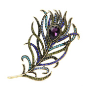 SCASTOE Woman Vintage Peacock Feather Golden Multi-colour Rhinestone Brooch Pins Jewellery