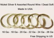 Assorted Sizes Nickel Silver Round Wire (26-24-22-20-18-16 Ga 3m Each