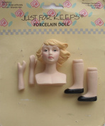 JUST For KEEPS Craft 1 SET of PORCELAIN DOLL HEAD 5.1cm - 0.6cm w PAIR of HANDS Each 2.5cm - 0.3cm and PAIR of LEGS Each 2.5cm - 1.9cm Long