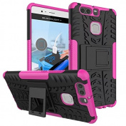 Huawei P9 Case,ARSUE [Premium Rugged] Heavy Duty Armour [Shock Resistant] Dual Layer with Kickstand Case for Huawei P9 2016 (Not Fit For Huawei P9 Lite/Plus) - Hot pink