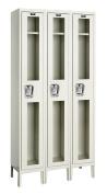 Hallowell USV3258-1A-PT Safety-View Locker, 90cm Width x 38cm Depth x 200cm Height, Single Tier, 3-Wide, Assembled, 729 Parchment
