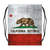 Cool Fashion California State Flag Basketball Drawstring Bags Backpack, Sports Equipment Bag - 42cm (W) x 49cm (H), Twin-sided Print