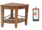 Patented Kai 39cm Corner Teak & Stainless Shower Bench with Shelf & AquaTeak Premium Teak Oil