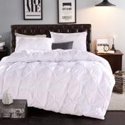 LA MEJOR Queen Size Luxurious Soft Pinch Pleat Decorative Pintuck Bedding Set White
