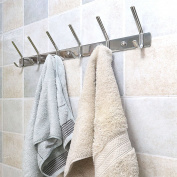 Coat and Hat Hooks, WEBI SUS304 Modern Heavy Duty 6-Hook Robe Bath Kitchen Towel Utensil Utility Garment Rack Hanger Rail Holder, Bedroom Entryway Garage Bathroom Home Organisation Storage, Polished