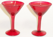 2 x Red Scented Candles In Red Martini Glass Style Holders