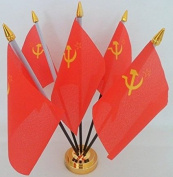 USSR Russia Hammer Sickle Soviet Union 5 Flag Desktop Table Display With Gold Base