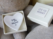 East of India 'Love You Mummy' White Porcelain Heart Dish Gift - Mother's Day Gift