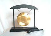 Find Something Different Decorative Table Gong in Black Wooden Stand, Glass, Multi-Colour, 8 cm Diameter