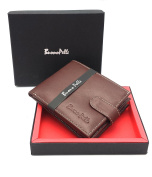 RFID BLOCKING MENS DESIGNER BUONO PELLE GENUINE REAL SOFT LEATHER WALLET WITH LARGE ZIP COIN POCKET / POUCH