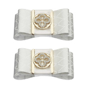 Shoelery White Double Gold Print Bow Shoe Clips Pair by Erica Giuliani