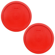 Pyrex 7403-PC 10 Cup Red Round Plastic Storage Lid - 2 Pack