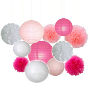 Fascola Set of 12 ( White,Pink,Hot pink ) 20cm Gold Pink White Paper Crafts Tissue Paper Lanterns Paper Pom Poms for Valentines Birthday Wedding Party Decoration
