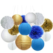 Fascola Set of 14 ( White,Gold,Royal Blue ) Beach-Themed Party Under the Sea Party Decoration Set Girls Boys Birthday Party Baby Shower 1st Birthday