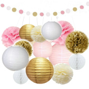Sorive Paper Crafts Tissue Paper Lanterns Honeycomb Balls Paper Pom Poms Polka Dot Paper Garland Kit for Wedding Party Decoration, 16 Pieces