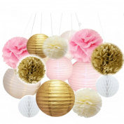 Sorive Pack of 14 Mixed Ivory Pink Gold White Party Decor Kit Paper lantern Paper Star Garland Tissue Pom Poms Hanging Flower Ball for Wedding,Birthday,Baby,Bridal Shower,Room decor