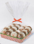 Candy Striped Christmas Cookie Trays with Wrap - Package of 4
