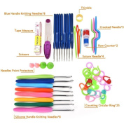 LIGONG 16 sizes Crochet Hooks Needles with Other 31 Stitches Knitting Accessories Crochet Set in Craft Case