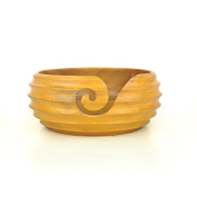 Yellow Hardwood Crafted Exclusive Knitting Yarn Storage Ball With Butter Scoop Troughs   Nagina International