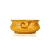 Kitchen Pot Styled Yellow Teak Wood Portable Yarn Storage Knitting Bowl   Nagina International
