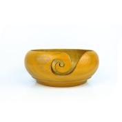 Yellow Teak Wood Crafted Premium Portable Light Weight Knitting & Crochet Yarn Bowl | Stitch Accessories & Storage | Nagina International
