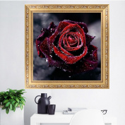 Julyshop Rhinestone 5D Diamond Painting Rose Flower-Cross Stitch for Home Bedroom Decor