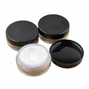 4 Pcs Plastic 5g 5ml Empty Sifter Cosmetic Loose Powder Container Jar Make-up Foundation Powder Puff Box Case With Powder Puff Sponge black lids