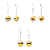 Y & M Women's Girl's Silver Plated Cute Smile Emoji Face Earrings Set with Gift Box - Assorted Amusing Smiley Emoticon Dangle Earrings