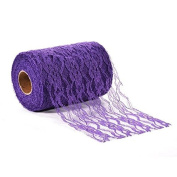 Adeeing 15cm x 25 Yards Vintage Lace Roll Floral Lace Ribbon for Tutu Skirt Fabric Table Runner Chair Sash DIY Wedding Party Bridal Shower Decorations Gift Bow Craft Dark Purple