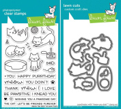Lawn Fawn Meow You Doin' Stamp and Die Set - Two item Bundle
