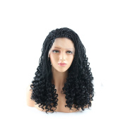 YongerBeauty Braids to Wavy Half Hand Tied Synthetic Wig Heat Resistant 100% Fibre Hair Braided Lace Front Wig for Black Women 1B#