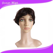 Quercy Hair 100% Real Virgin Remy Human Hair Free Part Short . Wig with Bangs for Ladies Black Women