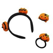 Cute Pumpkin Plush Halloween Series Pumpkin Headband Hair Clip Hair Ponytail Holders
