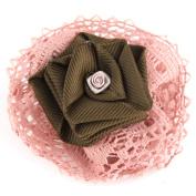 Floral Pink Lace Alligator Clip Hair Barrette