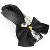Braided Soft Leather Hair Barrette - Crystal Cut Jewel Silky Satin Bow - Hair Clip - Black